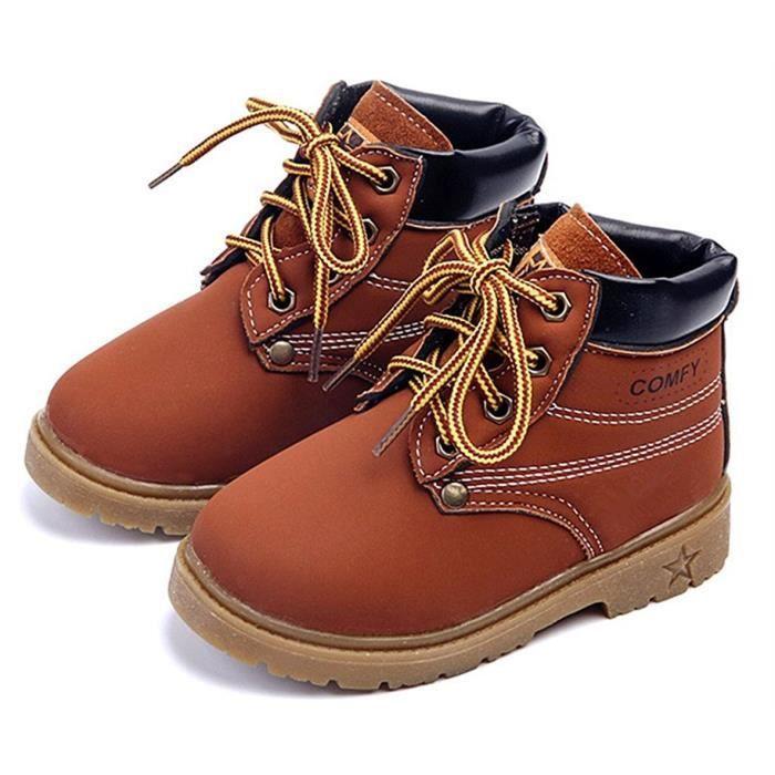 DADAWEN Mixte Enfant Haut qualité Boots Chaussures marron 30