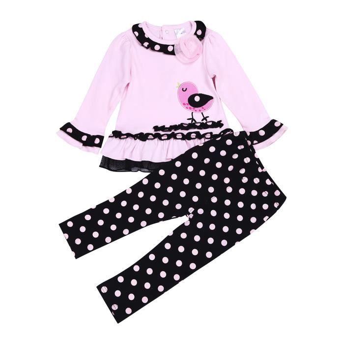 845e9807eab18 costume ensemble Bébé quotidien Filles Vêtements imprimé Oiseau 9-24 mois +  Pantalon à pois