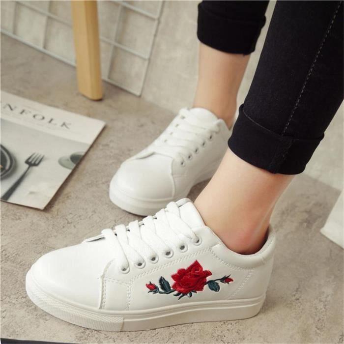 Plates Blanc Fleurs Sneakers Casuel Une Femme Motif Chaussures Baskets qIZTAwW