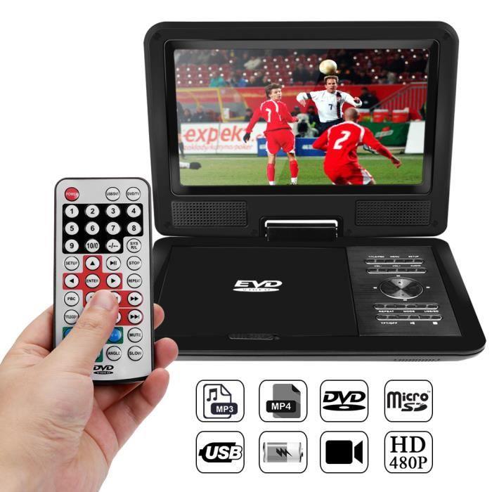 LECTEUR DVD PORTABLE Lecteur DVD HD LCD 720P 9,8 pouces Lecteur de jeu