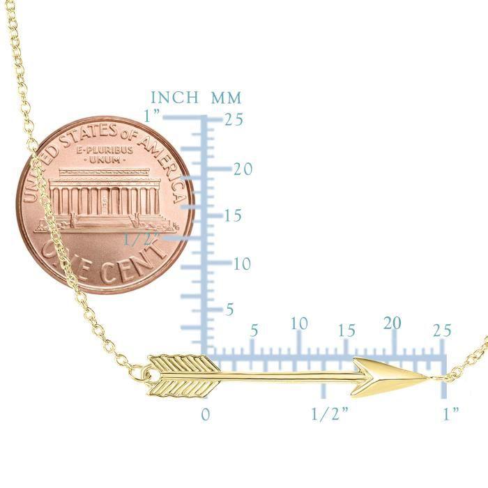 Collier- 14k jaune or 30 mm côté moyens flèche sur 17 à 18extensible
