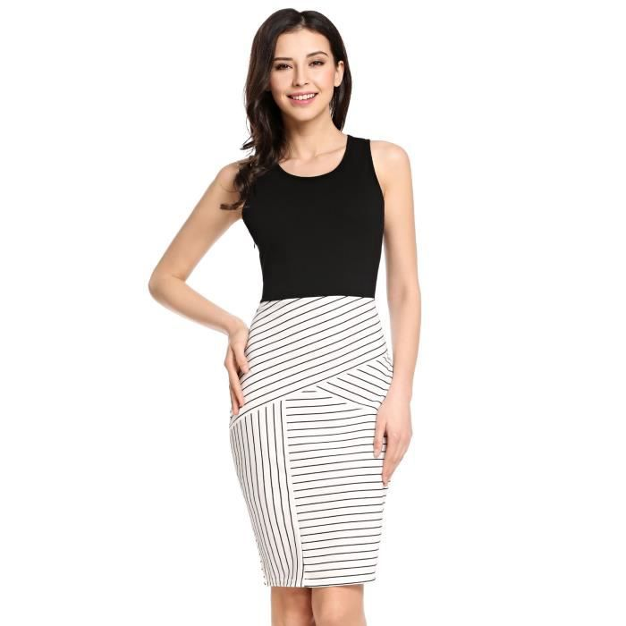 Meaneor Womens Summer Striped Patchwork Sleeveless Pencil Dress 2H2482 Taille-34
