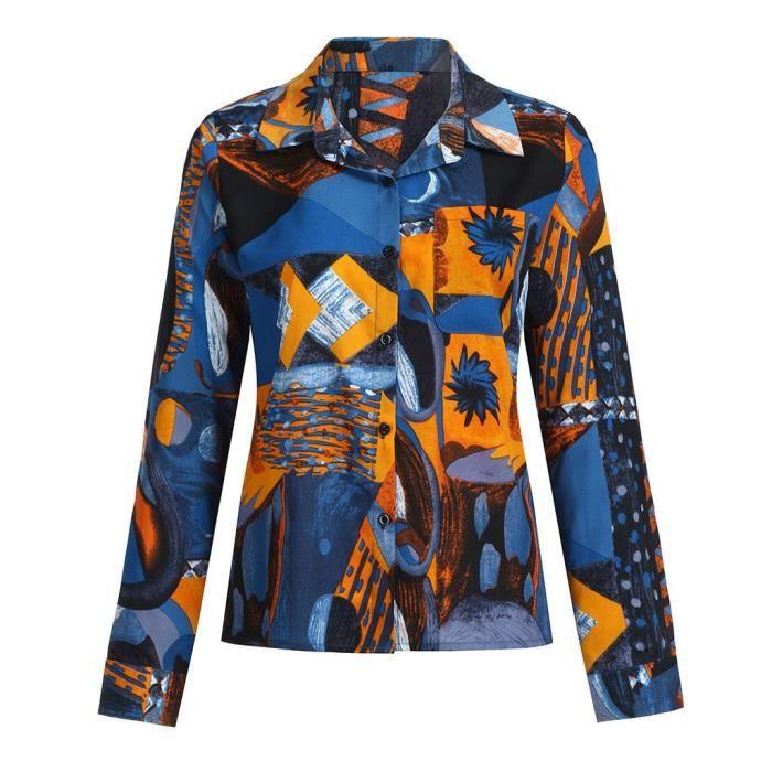 Floral Bouton Vers T ;'907 shirts Casual Manches Tops À Slim Femmes Le D'impression Blouses Bas Longues wqE5xTUSB