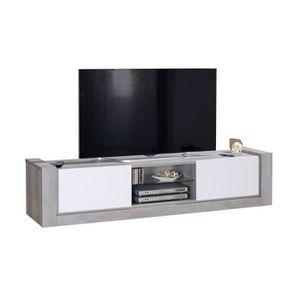 NORDEN Meuble TV contemporain - Gris et laqué blanc mat - L200 cm