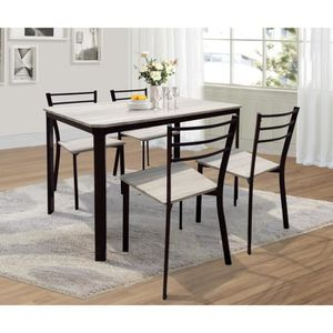 Table salle a manger bois metal achat vente table for Salle a manger factory