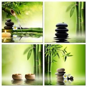 TABLEAU - TOILE Modern 4 Panneaux en toile Zen Canvas Bamboo Green