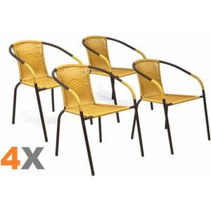 FAUTEUIL JARDIN 4 X Chaises Bistrot Poly Rotin Beige Empilable