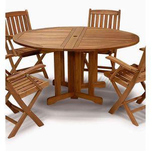 Table de jardin ronde en bois exotique FSC 4 pl… - Achat ...