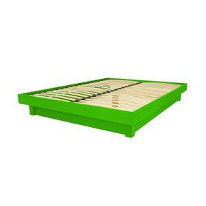 STRUCTURE DE LIT Lit plateforme bois massif pas cher (Vert - 140x20