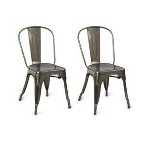 CHAISE 2pcs Chaises Design Industriel