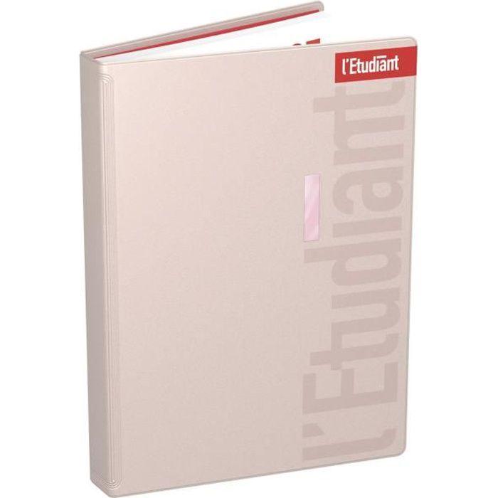 ETUDIANT Agenda 400118754 - 15 x 21 cm - 1 jour par page - Couverture PVC Ouatinée - 352 P - Couleur Rose