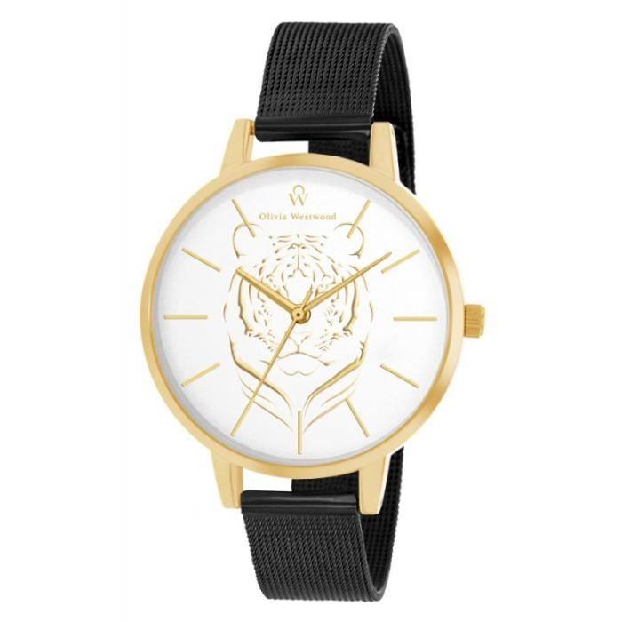 OLIVIA WESTWOOD BOW10004-314 Montre Quartz Bracelet acier - Noir - Tigre - Femme