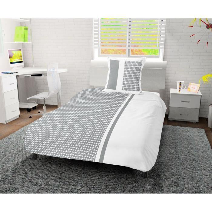SOLEIL D' OCRE Parure de couette Damier 100% coton - 1 housse de couette 140 x200 cm + 1 taie d'oreiller - Blanc