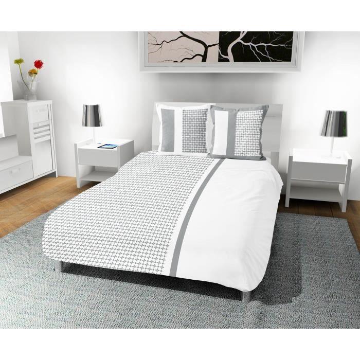 SOLEIL D' OCRE Parure de couette Damier 100% coton - 1 housse de couette 220 x 240 cm + 2 taies d'oreiller - Blanc