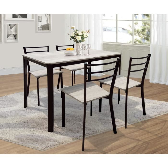 PRICE FACTORY - Table de cuisine et salle à manger + 4 chaises LEEDS.  Ensemble repas design métal et bois. Set pour 4 personnes 0bb1673e4d7b