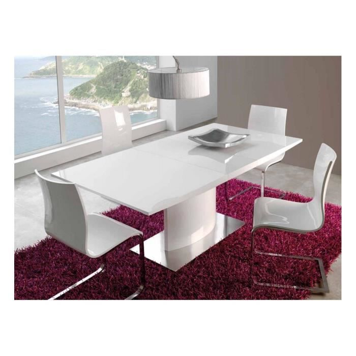 table manger blanc laqu extensible trendy 160 200 cm achat vente table manger seule. Black Bedroom Furniture Sets. Home Design Ideas