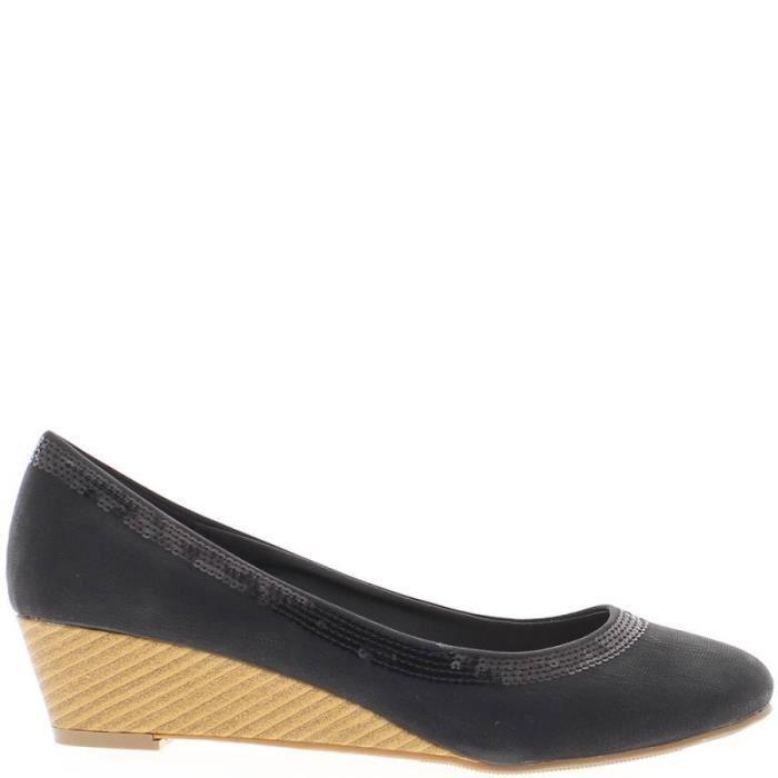 d87937ba01ac Chaussures femme compensées noires à petits talons bois de 4cm Noir ...