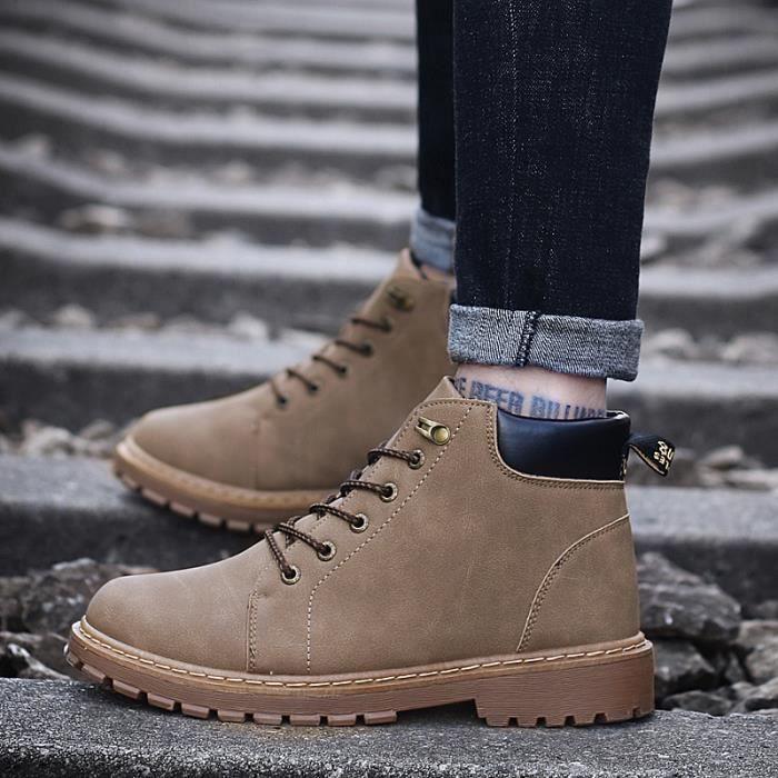 Bottes Haute - cylindre en bottes de bottes de cuir épais à chaud de laçage de chaussureMartin chaussures accrue Le style rétro à