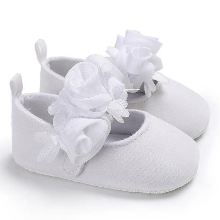 5faeeac164695 EOZY Chaussure Bébé Fille Princesse Shoes Anti-Dérapage Souple Respirant  Mode Blanc