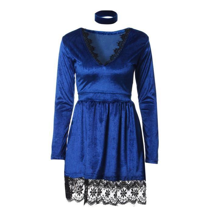 ea3afbb2be4 Robe en tissu de Velours avec dentelle a Manches Longues Sexy a la mode  Mode pour femmes(Bleu