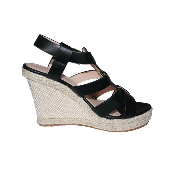 sandales compensées femme noire
