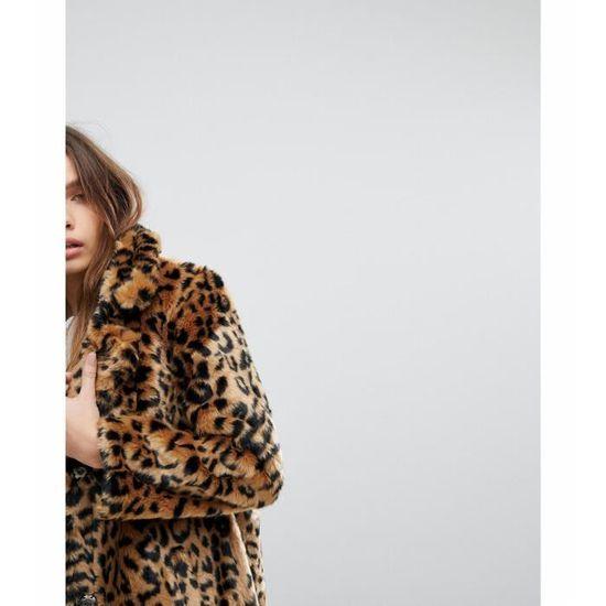 006556c3162d0 Pimkie Manteau fausse fourrure imprimé léopard Taille-38 Noir Noir - Achat    Vente parka - Soldes  dès le 9 janvier ! Cdiscount