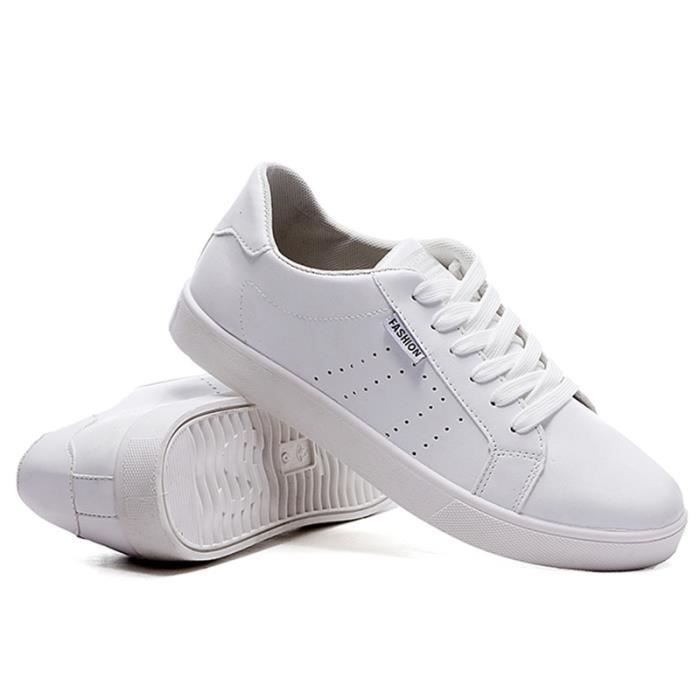 Chaussures De Sport Pour Hommes En Cuir Basket Classique LKG-XZ128Blanc44