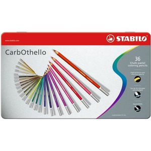 STABILO Boîte métal de 36 crayons de couleur fusain pastel CarbOthello