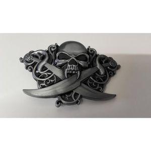 CEINTURE ET BOUCLE Ceinturon Crâne De Vampire Et Sabres ¿ Tête De Mor 8fabc6876b3