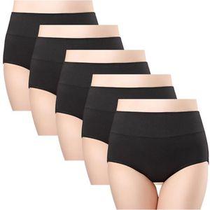 CULOTTE - SLIP Lot de 5 Culottes Femmes Coton Taille Haute Sous-v
