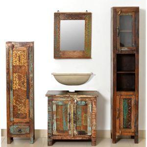 SALLE DE BAIN COMPLETE Armoires vintage de salle de bains en bois massif
