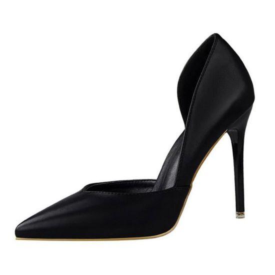 Minetom Femme Doux Escarpins Sexy En PU Verni Talon Aiguille Haut Chaussures Mariage Pumps Stiletto Noir Noir - Achat / Vente escarpin