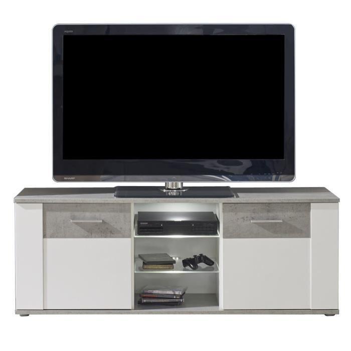 Panneaux de particules mélaminés béton gris et blanc mat - L 145 x P 41 x H 54 cm - 2 portes et 3 nichesMEUBLE TV - MEUBLE HI-FI