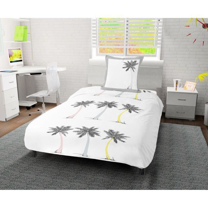 SOLEIL D' OCRE Parure de couette Palmier 100% coton - 1 housse de couette 140 x200 cm + 1 taie d'oreiller - Blanc