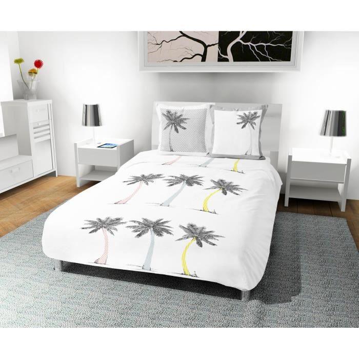 SOLEIL D' OCRE Parure de couette Palmier 100% coton - 1 housse de couette 240 x 260 cm + 2 taies d'oreiller - Blanc
