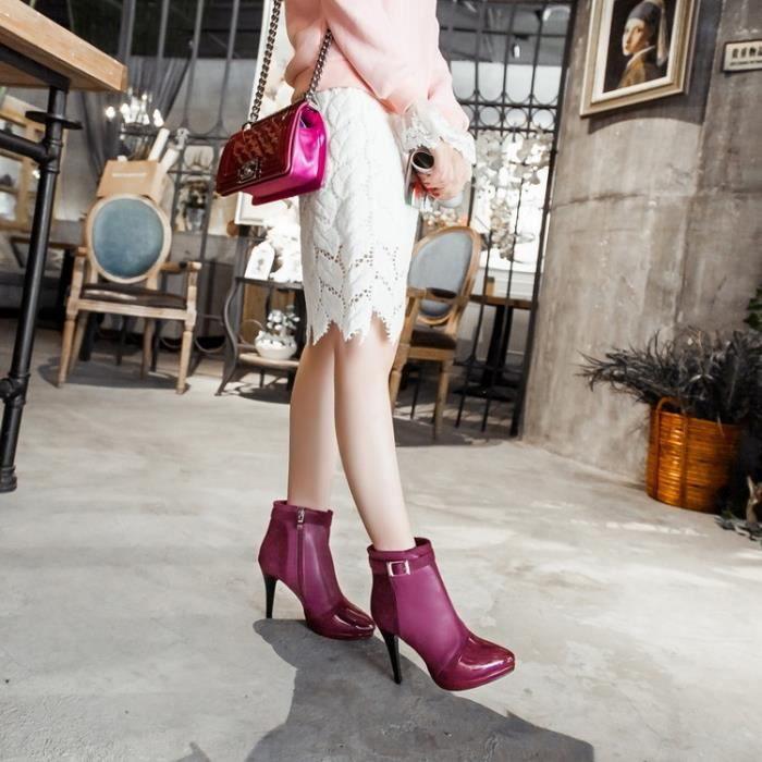 bottes courtes-Pure Color Pointu Bottes Stiletto de cheville de femmes