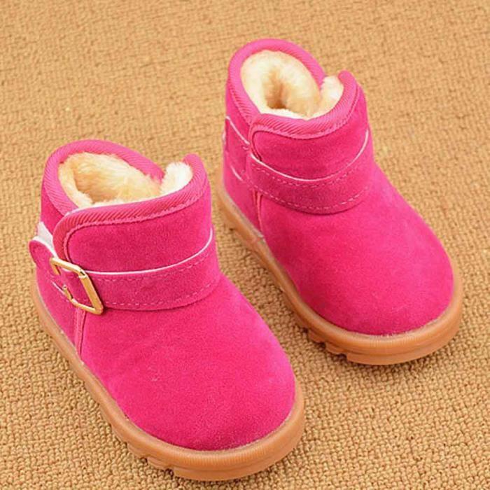 Mode d'hiver de bébé de modèle de botte de coton de bottes chaudes de neige rose