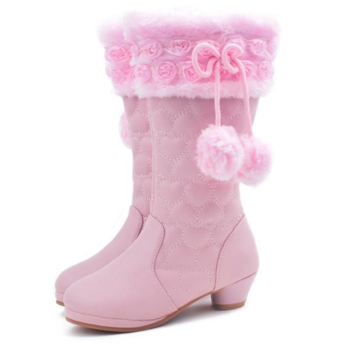 334b65359f1cb Hiver Bottes Enfants Princesse Chaud Peluche Chaussures Bottes  ZX-XZ105Rose36
