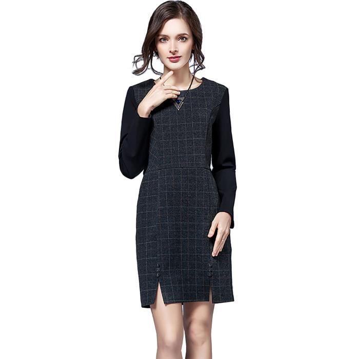 robe dhiver femmes à manches longues, plus la taille Bureau de haute qualité coton nouvelle 2017 grande taille gris