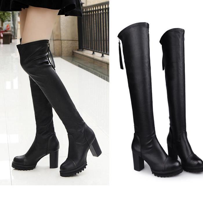mode cuir sur genou Bottes femmes orteil élastique Stretch bottes talon épais noir p3Pet6VDz