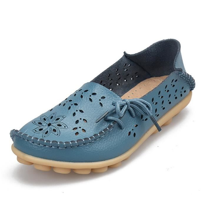 Mocassin Femmes ete Loafer Ultra Leger Respirant Chaussures DTG-XZ051Bleu40