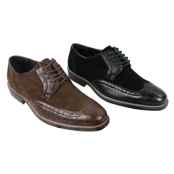 Chaussures Style Cuir Simili En Gatsby Et Marron Derbies Homme Vintage Daim Noir Serpent Doublure IWH2eDYE9