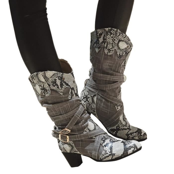 DERBY Mode Femme Bottes Serpent Bottes Talons mi Chaussu