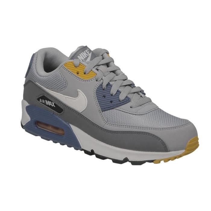 pas cher pour réduction de97d e11bb Basket Nike air max 90 essentiel en cuir et textile gris, bleu et jaune.