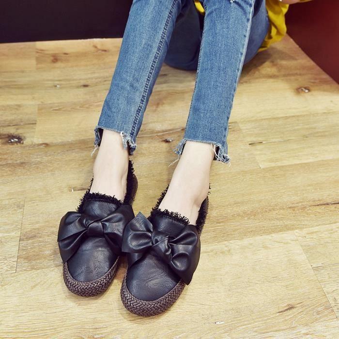 on Bout Chaussures Confortables Knot Slip Flats Casual Rond Papillon Noir Mode Femmes qSwRFXR