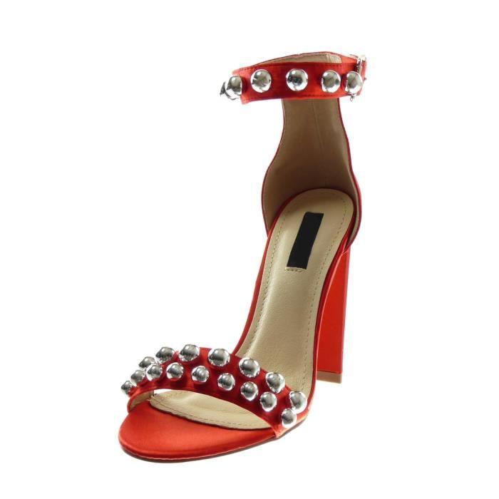 Angkorly - Chaussure Mode Sandale Escarpin lanière cheville femme perle clouté Talon haut bloc 11 CM - Rouge - B7800 T 39
