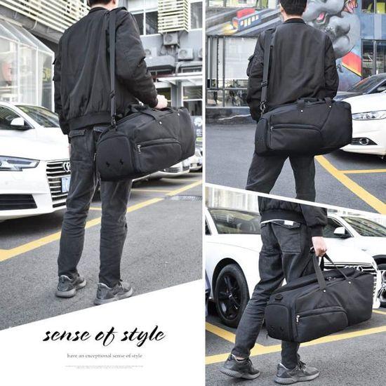 5b0dd30529 NUBILY Sac de Sport Homme avec Compartiment à Chaussures Sac Voyage Grande  Capacité 45 litres Noir - Achat / Vente sac de voyage 0663250860635 -  Cdiscount