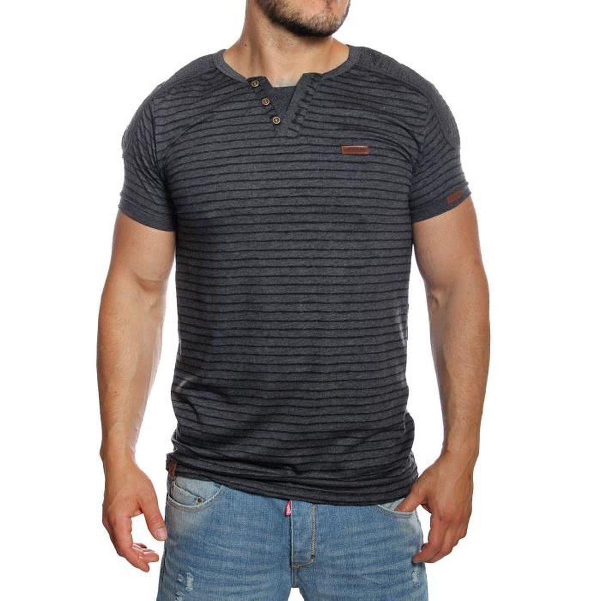 1b80ce9ce0498 MH Studio - T-shirt homme marinière noir manches courtes Noir Noir ...