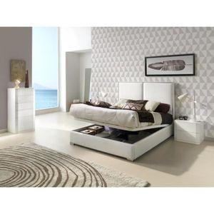 STRUCTURE DE LIT Lit coffre KINLEY 140x190-200cm en PU blanc - L 20