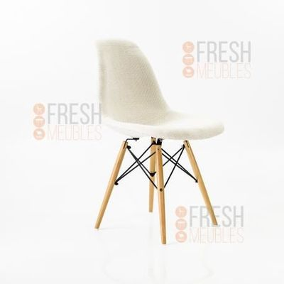 CHAISE Chaise Inspiration Eames DSW Tissu PATCHWORK Blan